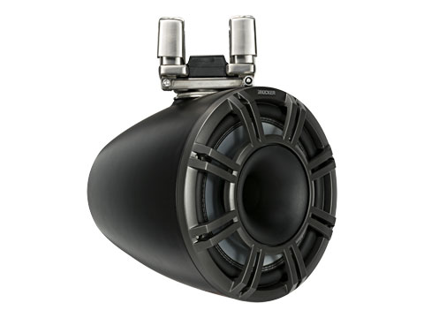black 11 inch horn loaded tower system