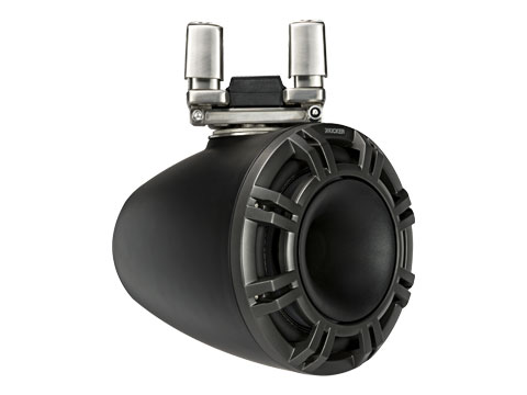 black 9 inch horn loaded tower system