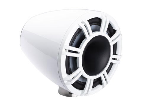 white 9 inch horn loaded tower system flat mount